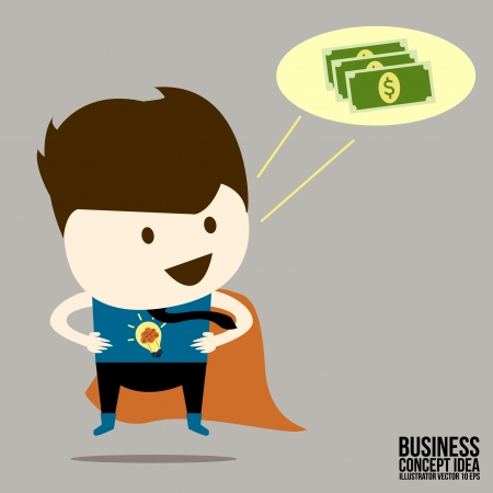 Businessman idea a money thinking Vector