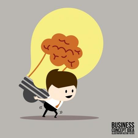 Businessman carrying bulbs idea