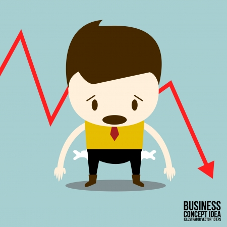 Business man sad with stock trading graph
