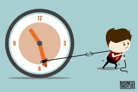 Businessman dragging clockwise