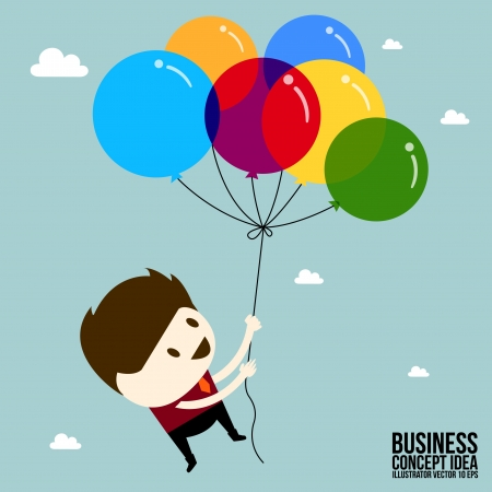 Businessman holding balloons floating in the air Illustration
