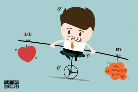 pulling rope: Businessman balance is key in life on one wheel bicycle Illustration