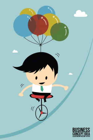 thinking balloon: Businessman balance on one wheel bicycle Illustration