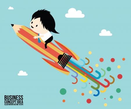 Abstract Pencil rocket concept idea, Businessman Illustration