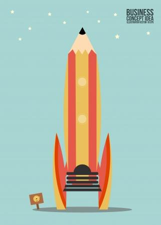 Abstract Pencil rocket concept idea