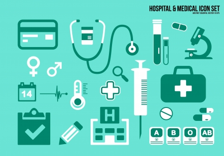 Icons set hospital   Medical Vector