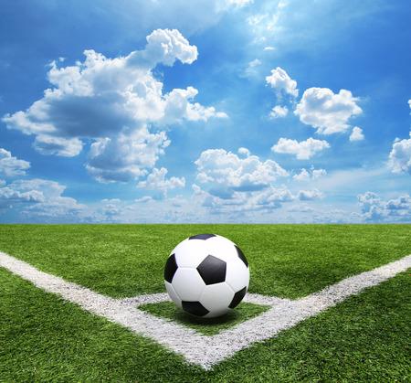 Football and soccer field grass stadium Blue sky background Standard-Bild