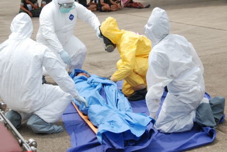radiological: CHONBURI - JUNE 25   Practicing radiological and chemicals casualty prepare for the officer about the Disaster Management on June 25,2013 in Chonburi,Thailand  Editorial
