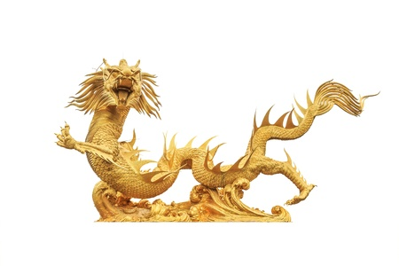 Golden dragon statue on white background photo