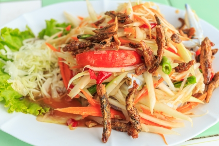 Papaya slad or Som tum,Thai food photo
