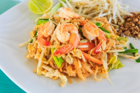 Pad Thai Goong Sod or Fried Rice Sticks with Shrimp.Thai food style photo