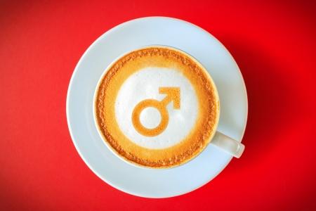 sexualidad: Caf� para los hombres, hombres Sexo Registrarse dibujo en el caf�. Caf� Concepto para la estimulaci�n sexual