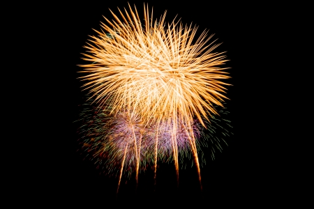 Beautiful fireworks and salute of various colors in the night sky
