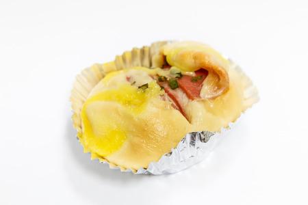 Mini pizza en el fondo blanco Foto de archivo