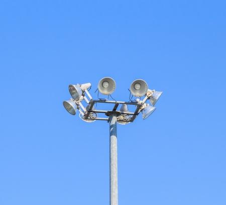 Spotlight tower with blue sky Stock Photo
