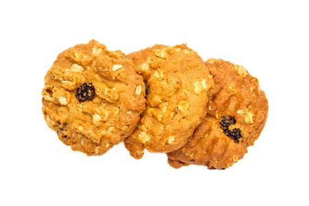galletas de avena en el fondo blanco