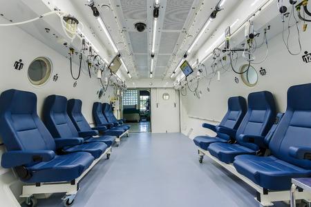 Interior de la c�mara hiperb�rica Foto de archivo