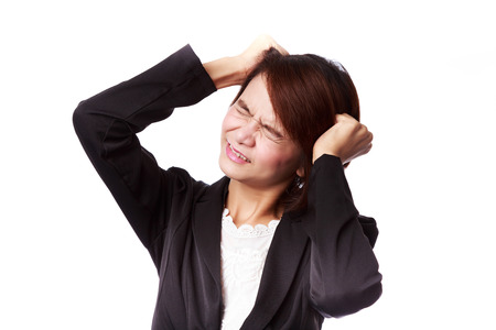 Stress. Asian business woman frustrated and stressed pulling her hair