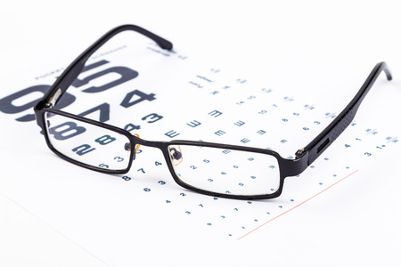 Healthy Vision.Old glasses and Eye Chart