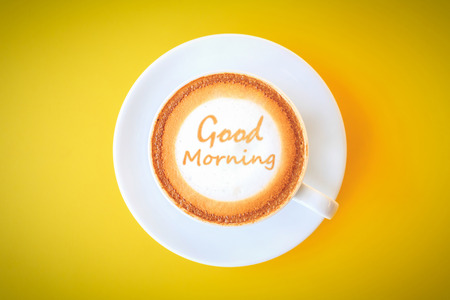 morning coffee: Good Morning - Coffee Cup Stock Photo