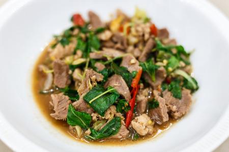 Stir-fried pork and basil.Thai food