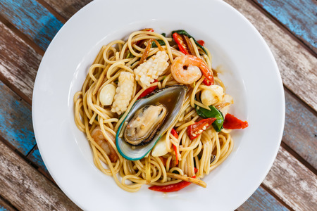 Spaghetti spicy seafood on plate