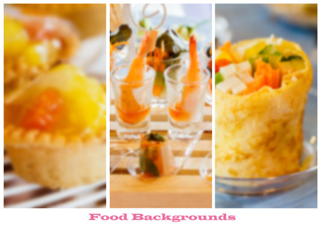 Menu pages template, blurred food backgrounds Stock Photo