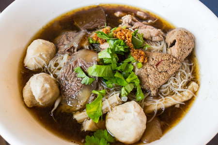 Delicious noodle with braised beef and meat ball