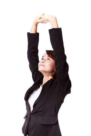 Businesswoman stretching exercise isolated on white background.Office syndrome concept.