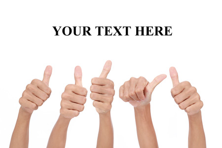 Many people congratulate a winner and holding their thumbs up with blank space for text Stock Photo