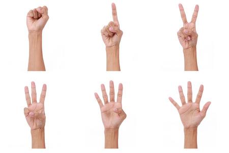 alzando la mano: Count.woman mano manos muestran el número cero, uno, dos, tres, cuatro, cinco en el fondo blanco Foto de archivo