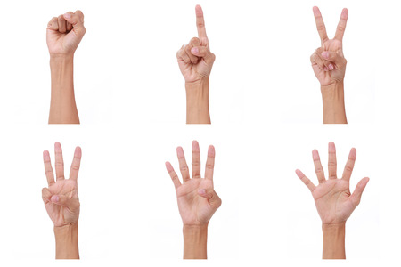 show of hands: Hand count.woman hands show the number zero,one, two, three, four,five on white background