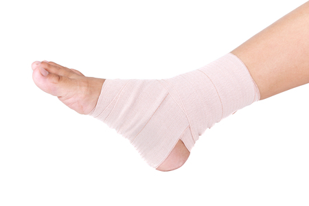 Ankle sprain.Ankle support with elastic bandage