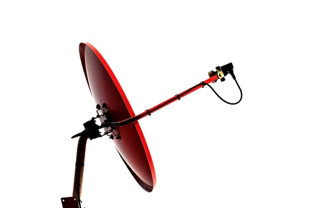 Satellite dish red antennas on roof install at home Stock Photo - 16597176
