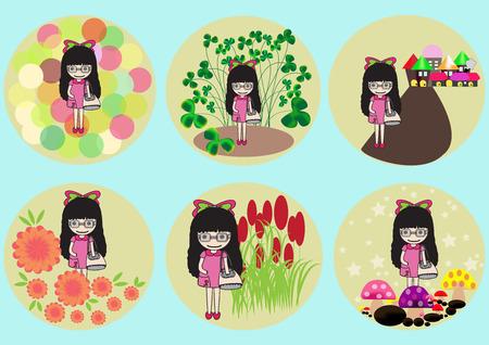 pollen: pretty girl hold handbag on different background