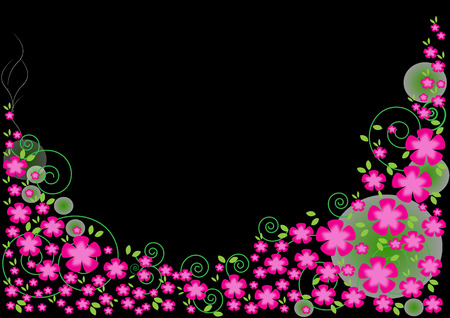 pink and black: Pink flowers on a black background.