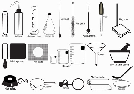 laboratorio de ciencias del vector del icono, iconos químicos que se indican, Laboratorio de Química, cristalería química. ilustración vectorial