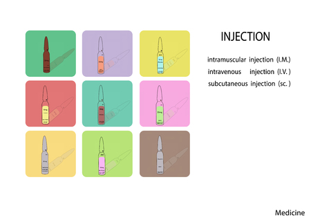 ampule: vector illustration, Flat design. ampule icon set,medical ampule icon,