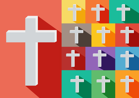 rood: Christian Cross Icon. Alternative color options in blue, green, yellow,violet,orange.cross flat icon  design.shadow, Illustration