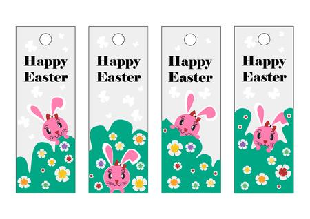 pink rabbit: vector set of Easter bookmark. Happy Easter, pink rabbit.