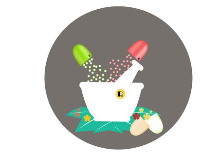 granule: Capsule, granule, green with white mortar,vector,illustration,picture