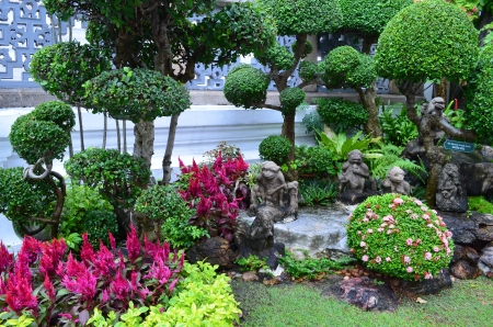 nice decorated garden in an Emerald Buddha temple area, Bangkok Stock Photo