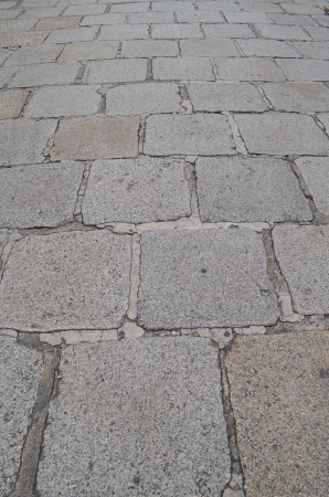 The old Stone footpath in an Emerald Buddha Temple, Bangkok