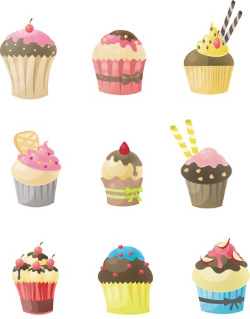 cake illustration: Set of cupcake  Illustration
