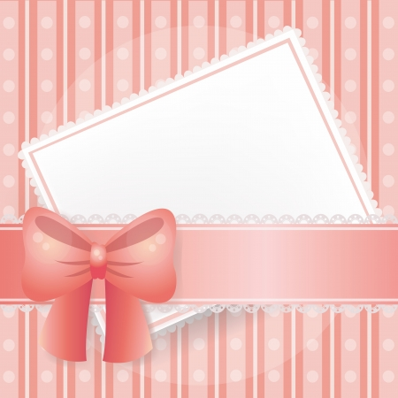 Pink card in  background with lace, ribbons and bows