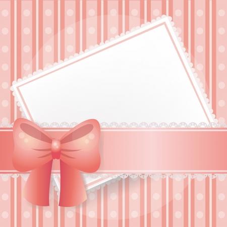 lazo rosa: Tarjeta rosa de fondo con encajes, cintas y lazos