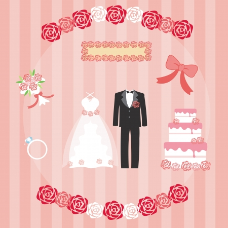 Set of wedding  Vector