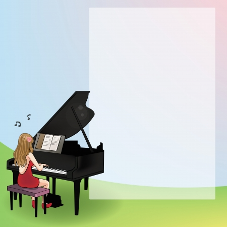 Playing a piano for notepad Vector
