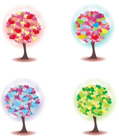 Trees decorated with colorful hearts, concept for love relationships. Stock Vector - 16963698