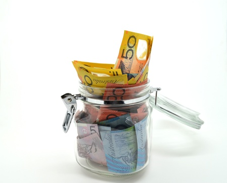 Jar of some Australian money Banco de Imagens